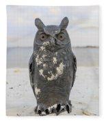 Owl On The Beach Fleece Blanket