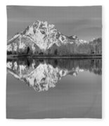 Oxbow Bend Morning Black And White Fleece Blanket