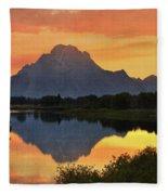 Oxbow Sunset 13 Fleece Blanket