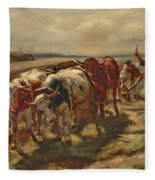Oxen Plowing Fleece Blanket
