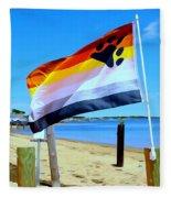 P Town Bear Flag Fleece Blanket