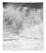 Pacific Ocean Breakers Black And White Fleece Blanket
