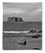 Pacific Ocean Coastal View Black And White Fleece Blanket