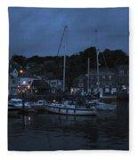 Padstow Harbor At Night Fleece Blanket
