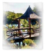 Pagoda Over The Lake Fleece Blanket