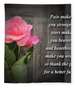 Pain Makes You Stronger Motivational Quotes Fleece Blanket