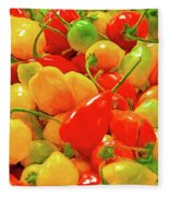 Painted Chilies Fleece Blanket