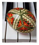Painted Easter Egg On Piano Keys Fleece Blanket