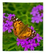 Painted Lady On Purple Verbena Fleece Blanket