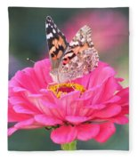 Painted Lady On Red Zinnia 3  Fleece Blanket