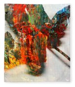 Painted Leaf Abstract 2 Fleece Blanket
