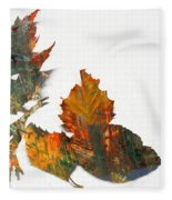Painted Leaves Abstract 1 Fleece Blanket