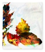 Painted Leaves Abstract 2 Fleece Blanket