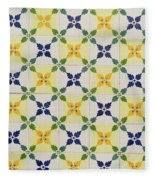 Painted Patterns - Floral Azulejo Tiles In Blue Green And Yellow Fleece Blanket