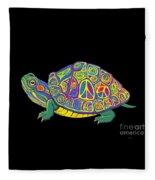 Painted Peace Turtle Too Fleece Blanket