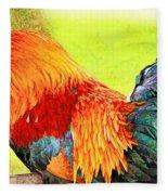 Painted Rooster Fleece Blanket