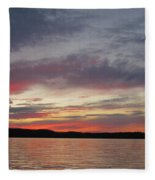 Painted Sunset On Gunflint Lake Fleece Blanket