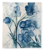 Painterly  Blues Fleece Blanket