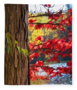 Painterly Rendition Of Red Leaves And Tree Trunk In Autumn Fleece Blanket