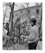 Painters In Montmartre, Paris, 1977 Fleece Blanket