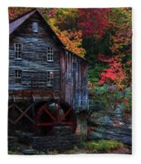 Painting Babcock State Park Glades Creek Grist Mill West Virginia Fleece Blanket