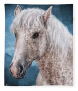 Painting Of A Brindle Horse With White Coat Fleece Blanket