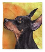 Painting Of A Cute Doberman Pinscher On Orange Background Fleece Blanket