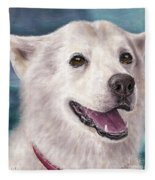 Painting Of A White And Furry Alaskan Malamute Fleece Blanket