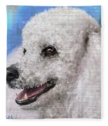 Painting Of A White Fluffy Poodle Smiling Fleece Blanket