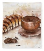 Painting Of Chocolate Delights, Pastry And Hot Cocoa Fleece Blanket