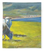 Painting Of Sheep On A Cliff Top Fleece Blanket