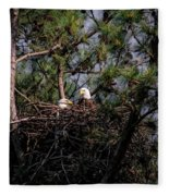 Pair Of Bald Eagles In Nest Fleece Blanket