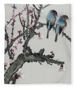 Pair Of Birds On A Cherry Branch Fleece Blanket