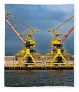 Pair Of Cranes Fleece Blanket
