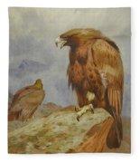Pair Of Golden Eagles By Thorburn Fleece Blanket
