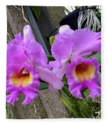 Pretty Purple Orchids Fleece Blanket