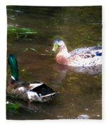 Pair Of Mallard Duck 10 Fleece Blanket