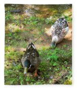 Pair Of Mallard Duck 5 Fleece Blanket