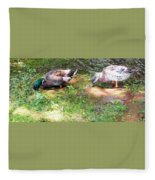 Pair Of Mallard Duck 8 Fleece Blanket