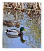 Pair Of Mallard Ducks Fleece Blanket