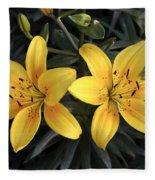 Pair Of Yellow Lilies Fleece Blanket