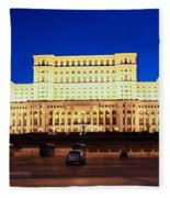Palace Of Parliament At Night Fleece Blanket