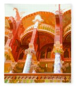 Palau De La Musica Catalana Window Fleece Blanket