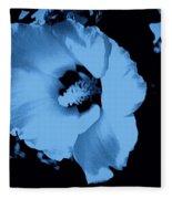 Pale Blue Tinge Hibiscus Flower Fleece Blanket