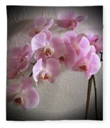 Pale Pink Orchids B W And Pink Fleece Blanket