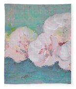 Pale Pink Peonies Fleece Blanket
