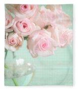 Pale Pink Roses Fleece Blanket