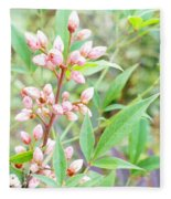 Pale Powder Pink Plant Fleece Blanket