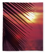 Palm At Sunset Fleece Blanket