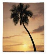 Palm At Sunset Fleece Blanket